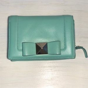 Kate Spade mint wallet with bow detail